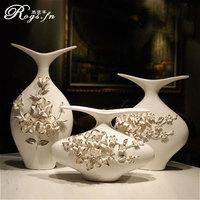 Modern brief ceramics white vase flower decoration home crafts