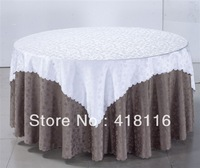 free shippingpolyester white tablecloth  jacquard round banquet