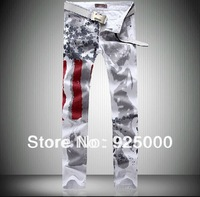 Free shipping  Hot designer Men's Coloured Drawing print Jeans US Flag Trousers Mens Painting Distinctive Jeans pants