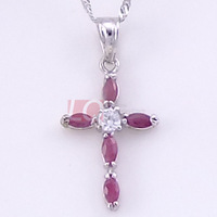 LQ Sterling Silver 925 Necklaces Estate Ruby Cross Pendant Necklace Natural Stone Jewelry High Polish Platinum Plated Free Ship