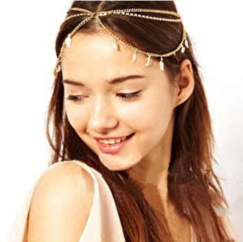 CCF191 Stunning Gold Triple Row Leaf Crystal Chain Hair Cuff Headband Head Dress Wrap Jewelry Free Shipping