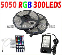 High Quality New RGB Led Strip Light Waterproof 5M SMD 5050 300 LEDs/Roll + 44 keys IR Remote Controller + 12V 5A Power Adapter