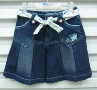 Plated female big boy casual denim skirt bust skirt short skirt with belt 8gb406 big