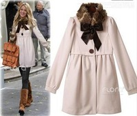 Gossip Girl ! FREE SHIPPING 2013 winter coat New Fashion puff sleeve Sweet Fur Collars women's coats outerwear FIVE SIZE,B1029