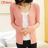 Omlesa 2013 autumn V-neck long-sleeve slim basic sweater female cardigan outerwear  , free shipping