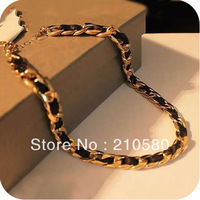 Fashion Women's Jewelry Gold Chain Woman's Necklaces 42cm Metal Silk Ribbon Collar