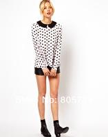 Peter Pan Collar Polka Dot Chiffon Blouse Women Long Sleeve Pullover Shirt 2014 New Fashion Blusas White Black