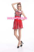FREE SHIPPING Ladies Glee Cheerleader Costume School Girl Full Outfits Fancy Dress Uniform S-3XL