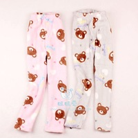 2013 sweetheart bear child autumn and winter coral fleece pajama pants trousers lounge pants parent-child pajama pants