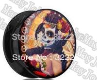 [Min. Order $20] La Catrina screw ear plug ear expander flesh tunnel body jewelry MJEPH698
