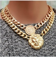 The queen's head lion head Nekclace,thick chain clavicle necklace vintage ,New ,best for Christmas gifts