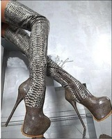 2013 New Arrival Over The Knee Thigh High Heel Snakeskin Boots Platform Women Winter Long Boots Motorcyle Boots