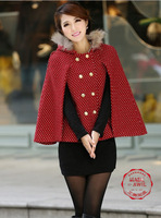 CT0034Free Shipping 2013 winter New Arrival  fashion style double breasted sweet mantle women's wollen overcoat  retail