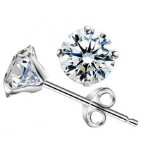 Genuine  925 sterling silver platinum crystal stud earrings fine jewelry  HSR023