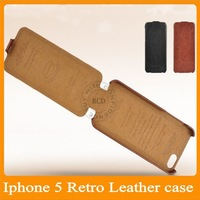 Luxury Retro PU Leather case for iphone 5 5S Flip New Arrival Original with FASHION Logo Thin Cover HLC008