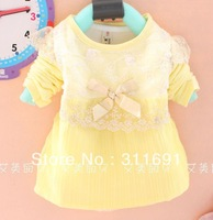 2013 Free shipping children girl's spring/autumn wear baby girl chiffon t-shirt with gold bow design four colors 4pcs/lot