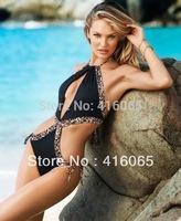 2015 New Arrival Super Fashion Sexy Black with Leopard Strappy Swimwear Swimsuit Suit Bikini  Monokini Bathing Suit