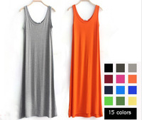 Hot Selling 2013 New Fashion Women s Cotton Long Dress Modal Dresses 15 Colors Free Shipping ZX0316