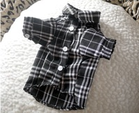 Dog shirt, pet clothes, Black check shirt