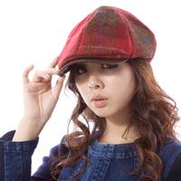 Hat cap female pure wool plaid cap high quality wool woolen beret