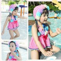 2013 child swimwear girl split plaid skirt style swimwear baby swimsuit and infants