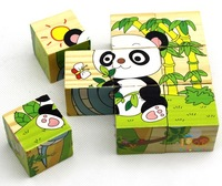 Panda CoWa B0968 DIY educational toys 3D wooden puzzles 6 sides different patterns animals 3D jiasaw for kids drop/free shipping