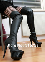 Free shipping by DHL,15CM high heels and 4cm platform black over the knee high summer boots,motorcycle boots men plus size 46