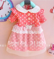 New Free shipping girl's patchwork dress girls' dot design chiffon dress with turn-down collar girls' spring/autumn wear
