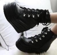 girls pumps wedges high heels fashion martin ankle boots for women big size  platform shoes winter punk Eur 31-43 SXX35613