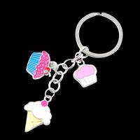 Funny trinket enamel cupcake Keychain/Keyring cute trinket bag handbag charm for keys creative gift wholesale/retail