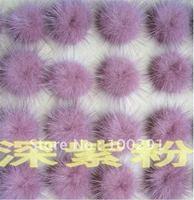 light purple pink  genuine mink   fur ball 30mm