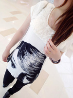 Summer 2013 women's slim medium-long lace patchwork hepburn short-sleeve T-shirt female basic