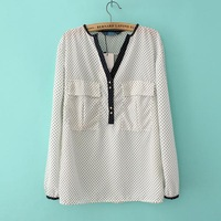 2013 spring women's slim black and white color block decoration dot chiffon shirt female polka dot shirt