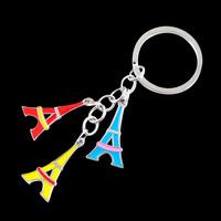 Fashion enamel Paris Eiffel Tower Keychain/Keyring metal trinkets charm for key and bag handbag wholesale/retail gifts
