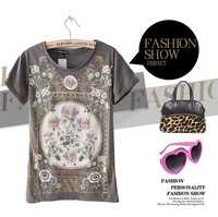 Summer fashion women's 2013 royal slim print rivet women's t-shirt casual female short-sleeve T-shirt