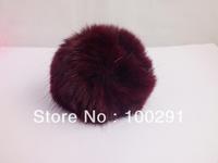30pcs / lot Genuine Rabbit Fur Ball  dark  purple color Adornment 80mm Free Shipping