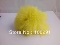 50pcs / lot Genuine Rabbit Fur Ball  yellow color Adornment 80mm Free Shipping