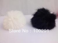 50pcs / lot Genuine Rabbit Fur Ball  white and black color Adornment 80mm Free Shipping
