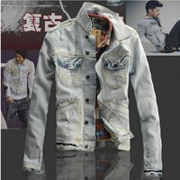new 2013 casual denim jackets for men men's coats denim jacket jeans coat men's winter jacket brand big size women clothing