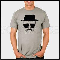 Free shipping BREAKING BAD Heisenberg sketch black hat / sunglasses T-shirt Fashion Brand t shirt men 2013 new high quality