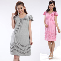 Luckbao spring and summer maternity clothing fashion ol ruffle hem maternity dress maternity summer one-piece dress