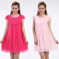 Luckbao 2013 summer maternity clothing chiffon compound silk fashion maternity dress one-piece dress