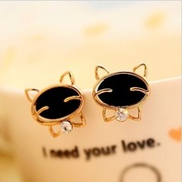 Fashion black 0078 smiley cat rhinestone quality exquisite stud earring earrings female