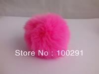 30pcs / lot Genuine Rabbit Fur Ball rose red  color Adornment 80mm Inventory sale