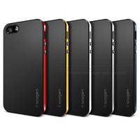 Newest Bumblebee SPIGEN SGP Neo Hybrid Slim Fit Dual Protection Cover Case for Apple iPhone 5 / 5S, free screen protector