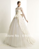 Free shipping New Elegeant 2013 Lace Ivory Long Sleeves Ball Gowns Church Wedding Dresses