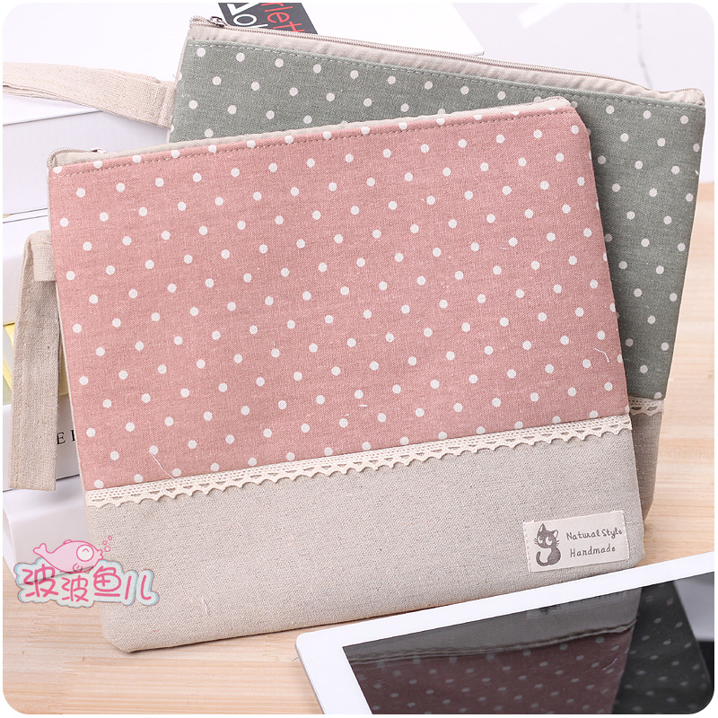 Lace polka dot for ipad bag fluid cloth women's briefcase laptop bag handbag portable envelope bag(China (Mainland))