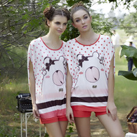 2013 female sleepwear cartoon print modal sleepwear lounge set