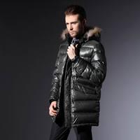 Free shipping  H male Men medium-long fur collar down coat male casual men's clothing