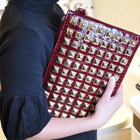 XMAS GIFT 2014 punk rivet clutch day clutch bag envelope bag one shoulder cross-body women's handbag